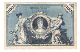 Pa6. Germany German Empire 100 Mark 1908 Reichsbanknote Green Seal & Ser. 8387312 G - [ 2] 1871-1918 : German Empire