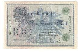 Pa6. Germany German Empire 100 Mark 1908 Reichsbanknote Green Seal & Ser. 0678640 J - [ 2] 1871-1918 : Duitse Rijk