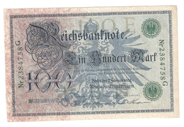 Pa6. Germany German Empire 100 Mark 1908 Reichsbanknote Green Seal & Ser. 2384758 G - [ 2] 1871-1918 : German Empire