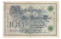 Pa6. Germany German Empire 100 Mark 1908 Reichsbanknote Green Seal & Ser. 1188351 L - [ 2] 1871-1918 : Duitse Rijk