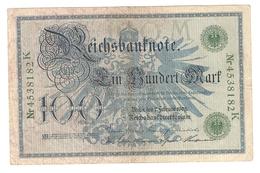 Pa6. Germany German Empire 100 Mark 1908 Reichsbanknote Green Seal & Ser. 4538182 K - [ 2] 1871-1918 : Duitse Rijk