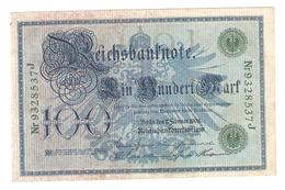 Pa6. Germany German Empire 100 Mark 1908 Reichsbanknote Green Seal & Ser. 9328537 J - [ 2] 1871-1918 : Duitse Rijk