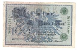 Pa6. Germany German Empire 100 Mark 1908 Reichsbanknote Green Seal & Ser. 5967559 J - [ 2] 1871-1918 : Duitse Rijk