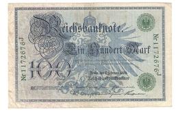 Pa6. Germany German Empire 100 Mark 1908 Reichsbanknote Green Seal & Ser. 1172676 J - [ 2] 1871-1918 : German Empire