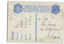 8006 01 TIMBRO UFFICIO CONCENTRAMENTO POSTA MILITARE 403 ALBANIA ALPINO X BOLOGNA - 1900-44 Vittorio Emanuele III