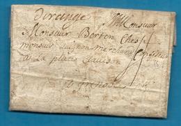 Vaucluse - Orange Pour Un Marchand Confiseur à Grenoble (Isère) - 1758 - Marcophilie (Lettres)