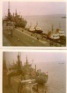 2 Photos Couleurs Originales Tour Blanc - Navire Et Bâtiment De Guerre & Remorqueurs à Quai En 1966 - Schiffe