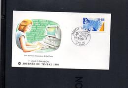 FFDC France Journée Du Timbre 1990 Les Métiers De La Poste  L'accueil  85 Maubourguet 7/3/1992  Y-T 2743 - 1980-1989