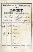 77 OISSERY Boucherie & Charcuterie LUCET Petit Carton Facture De 1910 - France