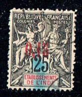1903  Groupe Paix Et Commerce    Surcharge 0,15 Sur 25 Cent.  Yv 22  Oblitéré Faux De Fournier - Inde (1892-1954)