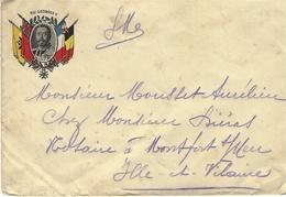 """30-12-14 - Enveloppe Avec Médaillon  """" Roi Geoirges V """" Entouré De Drapeaux  -au Dos, ARMEE / BELGE - Marcophilie (Lettres)"""