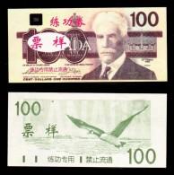 (Replica)China BOC (bank Of China) Training/test Banknote,Canada Dollars B-1 Series $100 Note Specimen Overprint - Canada