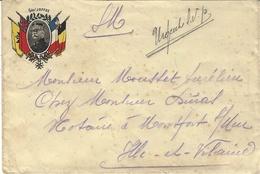"""Sans Date - Enveloppe Avec Médaillon """" Gén. Joffre """"  Entouré De Drapeaux  -au Dos, ARMEE / BELGE - Marcophilie (Lettres)"""