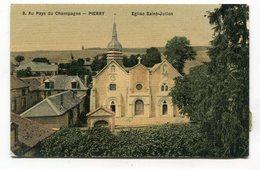 CPA  51  :  PIERRY  église St Julien Colorisée  A  VOIR  !!!! - France