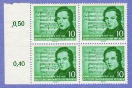 DDR SC #295-6 MNH B4 1956 Schumann (w/Shubert Music) CV $10.40 (I) - Unused Stamps