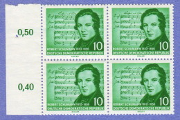 DDR SC #295-6 MNH B4 1956 Schumann (w/Shubert Music) CV $10.40 (I) - [6] Democratic Republic
