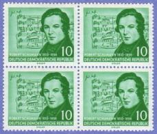 DDR SC #303-4 (set/2) MNH B4 1956 Schumann (w/Schumann Music), CV $27.00 (I) - [6] Democratic Republic