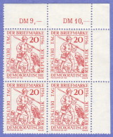 DDR SC #309 MNH B4 1956 Day Of The Stamp / Postrunner 1450, CV $2.00 - Unused Stamps