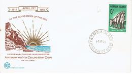 FDC Landing Of The Australian & NZ Army Corps On Gallipoli (Norfolk Island) 14/4/1965 - Ile Norfolk