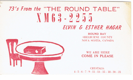 Old QSL From Elvin & Esther Hagar, The Round Table, Round Bay, Shelburne County, NS Canada (1967) - CB