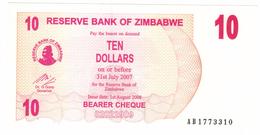 Zimbabwe, 10 Dollars , P-39, UNC .Free Ship. To USA. - Zimbabwe