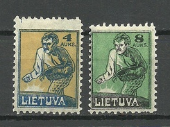 LITAUEN Lithuania 1922 Michel 124 - 125 * Mi 124 Perforation Error Long Stamp - Lithuania