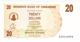 Zimbabwe, 20 Dollars , P-40, UNC .Free Ship. To USA. - Zimbabwe