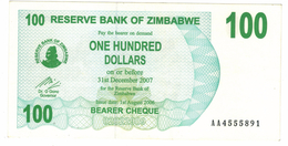 Zimbabwe, 100 Dollars , P-42, AUNC .Free Ship. To USA. - Simbabwe