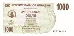 Zimbabwe, 1000 Dollars , P-44, UNC .Free Ship. To USA. - Simbabwe