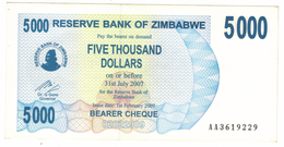 Zimbabwe, 5000 Dollars , P-45, UNC .Free Ship. To USA. - Zimbabwe