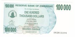 Zimbabwe, 100 000 Dollars , P-48, UNC .Free Ship. To USA. - Zimbabwe