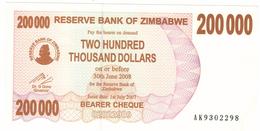 Zimbabwe, 200 000 Dollars , P-49, UNC .Free Ship. To USA. - Zimbabwe
