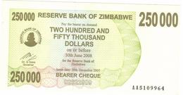 Zimbabwe, 250 000 Dollars , P-50, UNC .Free Ship. To USA. - Zimbabwe