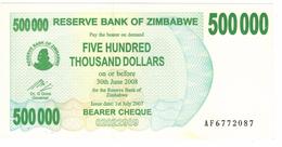 Zimbabwe, 500 000 Dollars , P-51, UNC .Free Ship. To USA. - Zimbabwe