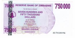 Zimbabwe, 750 000 Dollars , P-52, UNC .Free Ship. To USA. - Zimbabwe
