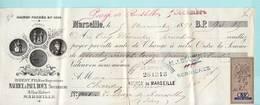 Marseille Savon Brest Fils De Ropquevaire Maurice & Paul Roux Successeurs  1891- Timbre Fiscal Local - Cambiali