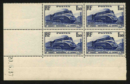 FRANCE - YT 340 ** - BLOC DE 4 TIMBRES NEUFS ** COIN DATE - 1930-1939
