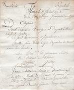 Révol.15 Floréal An 3 - DEUX DÉSERTEURS ÉTRANGERS En Dépôt à THIERS (63) Se Sont ÉVADÉS - Signalements - - Historical Documents