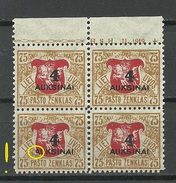 LITAUEN Lithuania 1922 Michel 116 In 4-Block With OPT ERROR Abart MNH - Lithuania