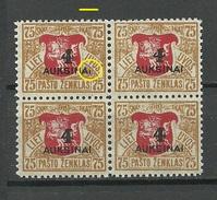 LITAUEN Lithuania 1922 Michel 116 In 4-Block OPT ERROR Abart MNH - Lithuania