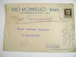 1937  BITONTO  VITO MONNIELLO  COMMISSIONI  VINO OLIO    COMMERCIO  BARI PUGLIA  VIAGGIATA   COME DA FOTO - Shopkeepers