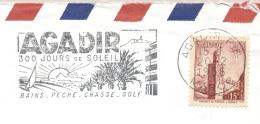 Maroc - 1956 - Agadir Slogan Cancel 300 Jours De Soleil, On Cover To Sèvres / France - Bains, Peche, Chasse, Golf - Marokko (1956-...)