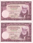 PAREJA CORRELATIVA DE ESPAÑA DE 50 PTAS DEL 31/12/1951 SERIE C CALIDAD EBC+ (XF)  (BANKNOTE) - [ 3] 1936-1975 : Régence De Franco