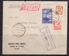 España 1937. Canarias. Carta De Tenerife A Sevilla. Censura. - Marcas De Censura Nacional