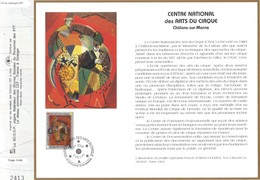 Sur Feuillet CEF , FDC 1993 Châlons -sur - Marne .  CENTRE NATIONAL Des ARTS DU CIRQUE . - FDC