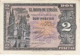 BILLETE DE ESPAÑA DE 2 PTAS  DEL AÑO 1938 SERIE N CALIDAD MBC (VF) (BANKNOTE) - 1-2 Pesetas
