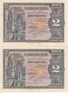 PAREJA IMPAR DE ESPAÑA DE 2 PTAS  DEL AÑO 1938 SERIE D SIN CIRCULAR-UNCIRCULATED (BANKNOTE) (manchitas) - [ 3] 1936-1975 : Régimen De Franco