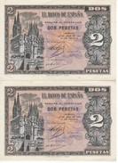 PAREJA CORRELATIVA DE ESPAÑA DE 2 PTAS  DEL AÑO 1938 SERIE N SIN CIRCULAR-UNCIRCULATED (BANKNOTE) - [ 3] 1936-1975 : Régence De Franco