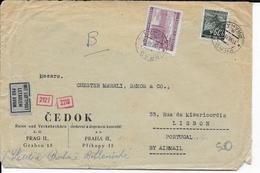 BÖHMEN UND MÄHREN - 1941 - ENVELOPPE Par AVION Avec CENSURE De PRAGUE => LISBONNE (PORTUGAL) - DESTINATION - Storia Postale