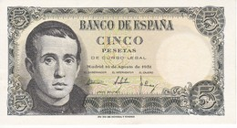 BILLETE DE ESPAÑA DE 5 PTAS DEL 16/08/1951 SERIE 1D SIN CIRCULAR-UNCIRCULATED  (BANKNOTE) - [ 3] 1936-1975 : Régimen De Franco